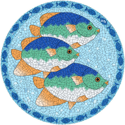 Medium 23 Inch Round Pool Art - Mosaic Tropical Fish