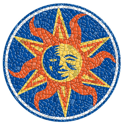 Small 10.5 Inch Round Pool Art - Sun (Set of Two Emblems)