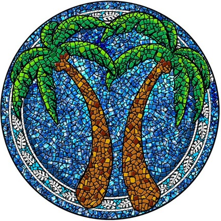 Small 10.5 Inch Round Pool Art - Palm Tree