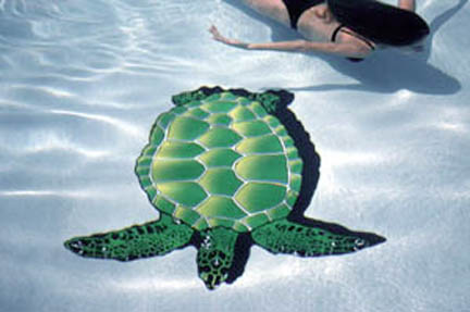 Large 4 Foot Pool Art - Sea Turtle