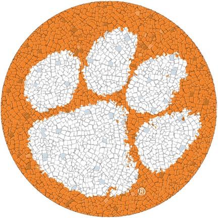 Small 10.5 Inch Round Pool Art - Clemson Tigers Team Logo