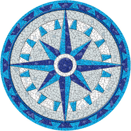 Medium 23 Inch Round Pool Art - Compass