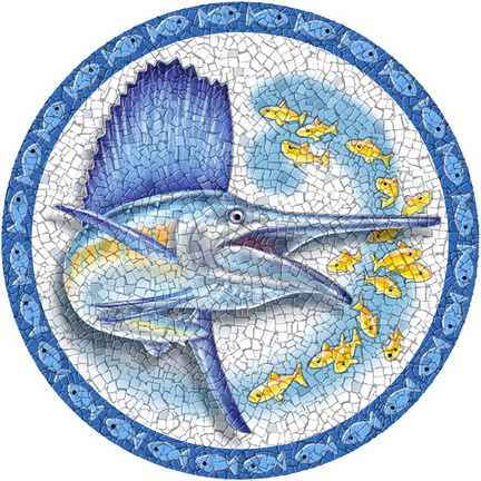 Medium 23 Inch Round Pool Art - Sailfish