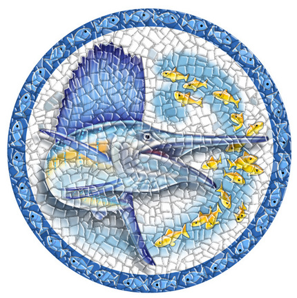 Small 10.5 Inch Round Pool Art - Sailfish (Set of Two Emblems)