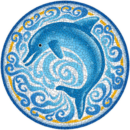 Medium 23 Inch Round Pool Art - Single Dolphin