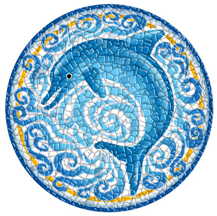 Small 10.5 Inch Round Pool Art - Single Dolphin (Set of Two Emblems)