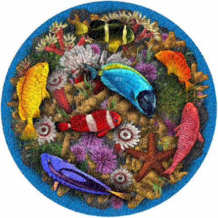 Medium 23 Inch Round Pool Art - Coral Reef