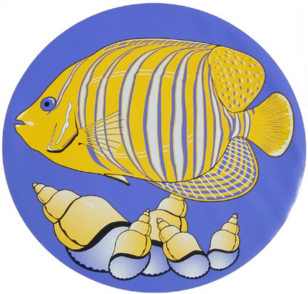Mini 7 Inch Round Pool Art - Tropical Fish Nature Design (Set of Four Emblems)