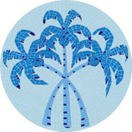 Mini 7 Inch Round Pool Art - Three Palm Trees (Set of Four Emblems)