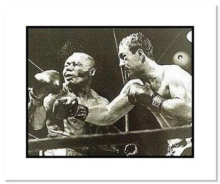 "Rocky Marciano Boxing ""1952 vs. Joe Walcott"" Double Matted 8"" x 10"" Photograph"