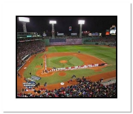 """Boston Red Sox MLB """"""""2004 World Series Game 1 Flag"""""""" Double Matted 8"""""""" x 10"""""""" Photograph"""" AAA-10089M"""