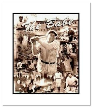 """Babe Ruth New York Yankees MLB """"Legends Collage"""" Double Matted 8"""" x 10"""" Photograph"""
