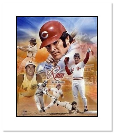 """Pete Rose Cincinnati Reds MLB """"Legends Collage"""" Double Matted 8"""" x 10"""" Photograph"""