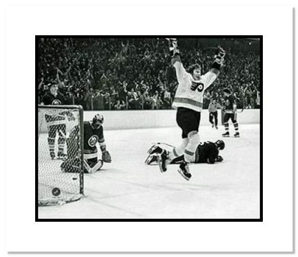 "Bobby Clarke Philadelphia Flyers NHL ""Jumping in the Air"" Double Matted 8"" x 10"" Photograph"