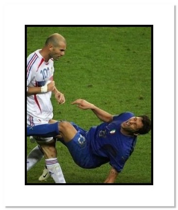 """Zinedine Zidane and Marco Materazzi (Italy and France) """"""""Headbutt in 2006 at World Cup Final"""""""" Double Matted 8"""""""" x 10"""""""" Photograph"""" AAA-10234M"""