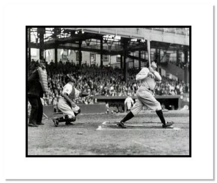 """Babe Ruth New York Yankees MLB """"Swinging HR"""" Double Matted 8"""" x 10"""" Photograph"""
