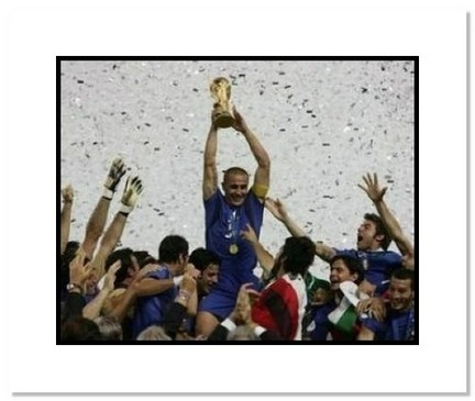 "Fabio Cannavaro (Italy) ""2006 at World Cup Trophy Celebration"" Double Matted 8"" x 10"" Photograph"