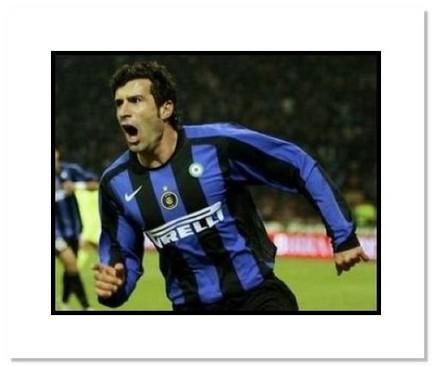 "Luis Figo Inter Milan ""Goal Celebration"" Double Matted 8"" x 10"" Photograph"