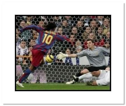 "Ronaldinho FC Barcelona ""Goal Scoring"" Double Matted 8"" x 10"" Photograph"
