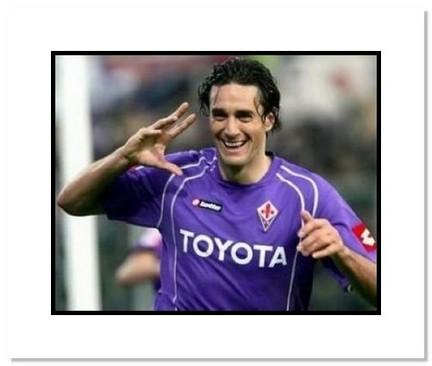 "Luca Toni Fiorentina ""Goal Celebration"" Double Matted 8"" x 10"" Photograph"