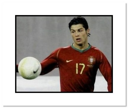 """Cristiano Ronaldo (Portugal) """"Watching Ball at World Cup"""" Double Matted 8"""" x 10"""" Photograph"""