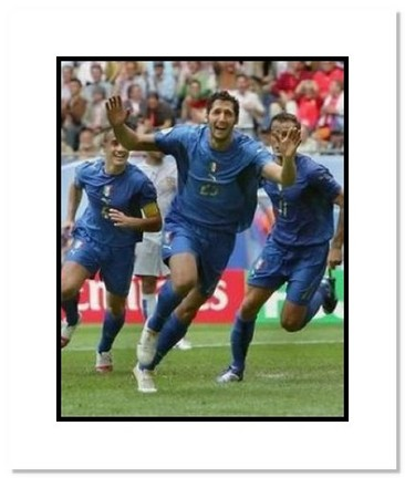 """Marco Materazzi (Italy) """"Goal Celebration at World Cup"""" Double Matted 8"""" x 10"""" Photograph"""