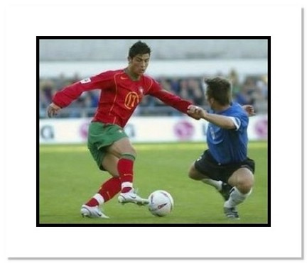 "Cristiano Ronaldo (Portugal) ""Dribbling at World Cup"" Double Matted 8"" x 10"" Photograph"