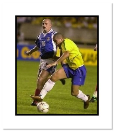 "Ronaldo (Brazil) ""Dribbling at World Cup"" Double Matted 8"" x 10"" Photograph"