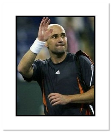 "Andre Agassi Tennis ""Waving"" Double Matted 8"" x 10"" Photograph"