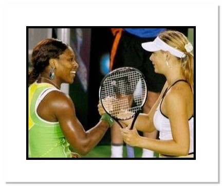 "Serena Williamson and Maria Sharapova Tennis ""2007 Australian Open Final"" Double Matted 8"" x 10"" Pho"