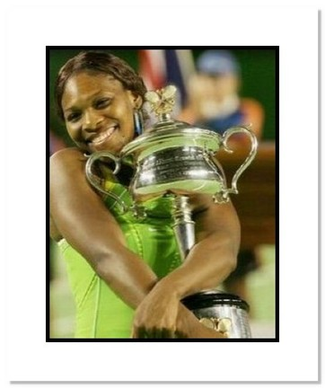 "Serena Williams Tennis ""2007 Australian Open Final Trophy"" Double Matted 8"" x 10"" Photograph"