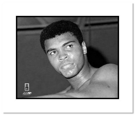 "Muhammad Ali Boxing ""Black and White Closeup"" Double Matted 8"" x 10"" Photograph"
