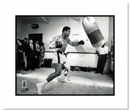 """Muhammad Ali Boxing """"Black and White with Punching Bag"""" Double Matted 8"""" x 10"""" Photograph"""