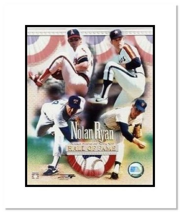 """Nolan Ryan Texas Rangers MLB """"Hall of Fame Tribute Mets, Astros, Rangers and Angels"""" Double Matted 8"""" x 1"""