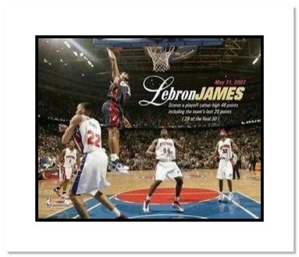 """LeBron James Cleveland Cavaliers NBA """"48 Point Game"""" Double Matted 8"""" x 10"""" Photograph"""