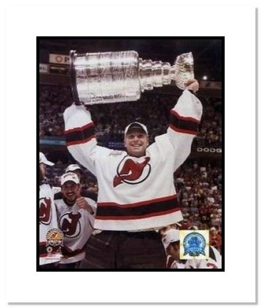 """Martin Brodeur New Jersey Devils NHL """"""""2003 Stanley Cup Overhead"""""""" Double Matted 8"""""""" x 10"""""""" Photograph"""" AAA-10522M"""