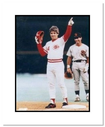 "Pete Rose Cincinnati Reds MLB ""Hit #4192 Pointing"" Double Matted 8"" x 10"" Photograph"