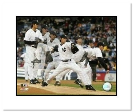 "Chien-Ming Wang New York Yankees MLB ""Multiple Exposure"" Double Matted 8"" x 10"" Photograph"