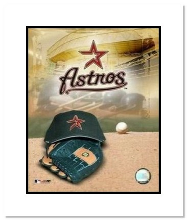 """Houston Astros MLB """"Team Logo and Baseball Cap Collage"""" Double Matted 8"""" x 10"""" Photograph"""