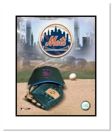 "New York Mets MLB ""Team Logo and Baseball Cap Collage"" Double Matted 8"" x 10"" Photograph"
