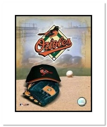 "Baltimore Orioles MLB ""Team Logo and Baseball Cap Collage"" Double Matted 8"" x 10"" Photograph"
