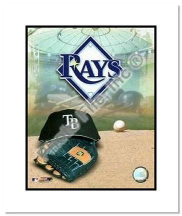 """Tampa Bay Rays MLB """"Team Logo and Baseball Cap Collage"""" Double Matted 8"""" x 10"""" Photograph"""