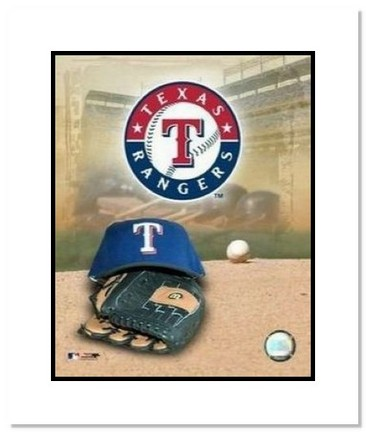 "Texas Rangers MLB ""Team Logo and Baseball Cap Collage"" Double Matted 8"" x 10"" Photograph"