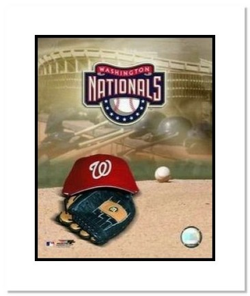 "Washington Nationals MLB ""Team Logo and Baseball Cap Collage"" Double Matted 8"" x 10"" Photograph"