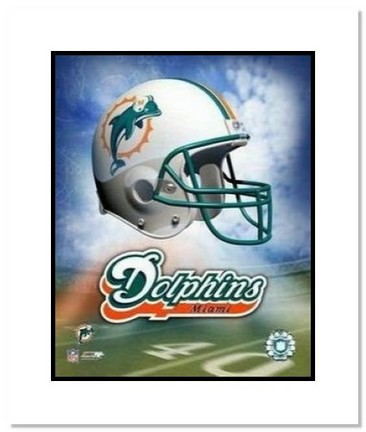 "Miami Dolphins NFL ""Team Logo and Football Helmet Collage"" Double Matted 8"" x 10"" Photograph"