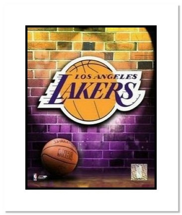 "Los Angeles Lakers NBA ""Team Logo and Basketball"" Double Matted 8"" x 10"" Photograph"