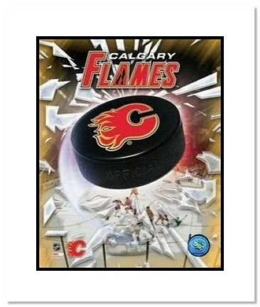 """Calgary Flames NHL """"Team Logo and Hockey Puck"""" Double Matted 8"""" x 10"""" Photograph"""