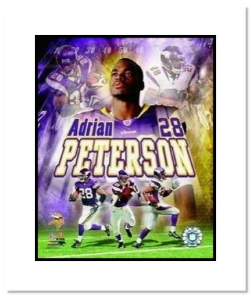 """Adrian Peterson Minnesota Vikings NFL """"Collage"""" Double Matted 8"""" x 10"""" Photograph"""