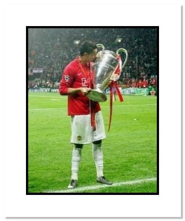 "Cristiano Ronaldo Manchester United English Premier League ""2008 Champions League Kissing Trophy"" Double Matte"