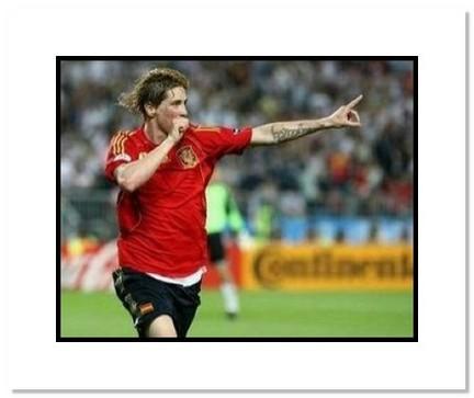 "Fernando Torres (Spain) ""2008 European Championship Goal Celebration"" Double Matted 8"" x 10"" Photogr"